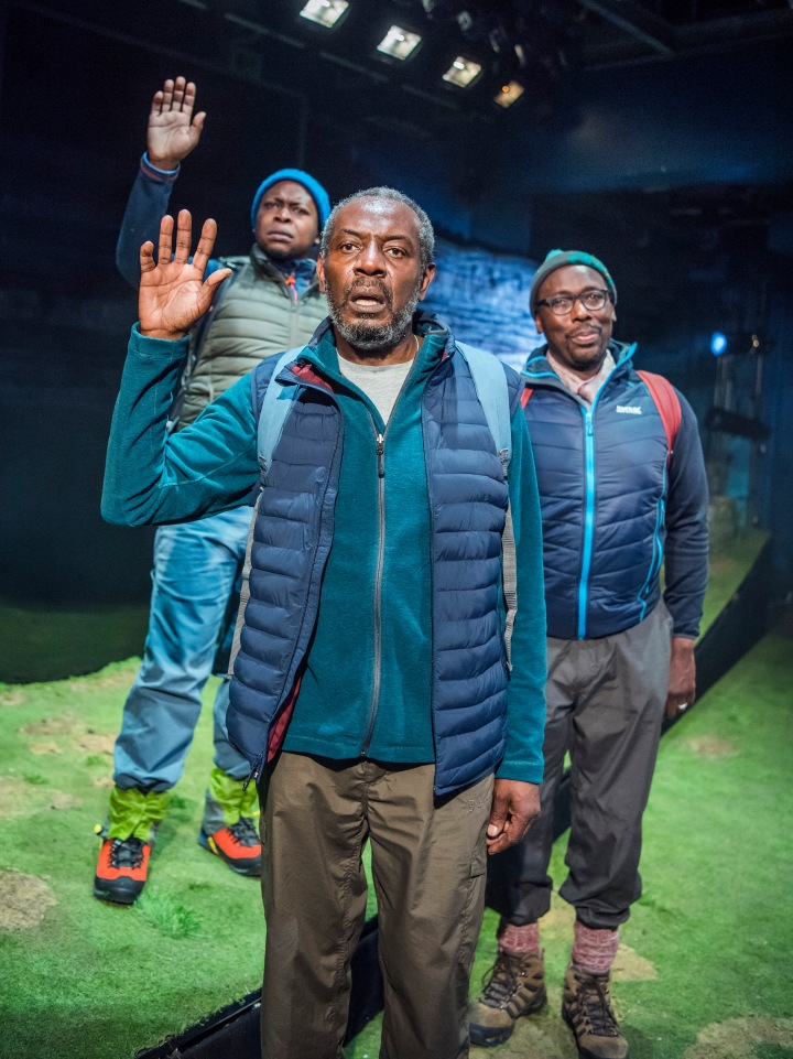 01 Black Men Walking- Eclipse Theatre, RET -L-R Tonderai Munyevu (Richard), Tyrone Huggins (Thomas), Trevor Laird (Matthew) photo by Tristram Kenton