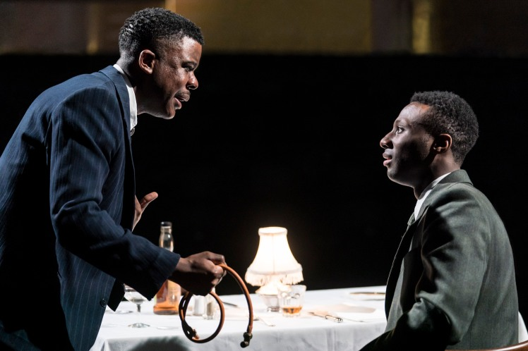 06 RET DEATH OF A SALESMAN L-R Ashley Zhangazha (Biff), Buom Tihngang (Happy) image Johan Persson.jpg